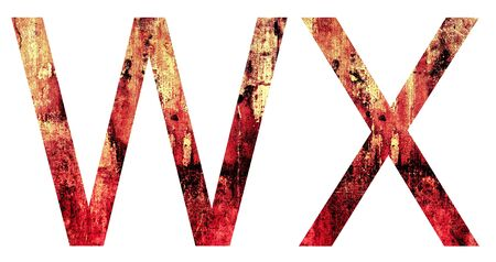 Grunge Letter W and X  Crack Surface Style, isolated on white photo