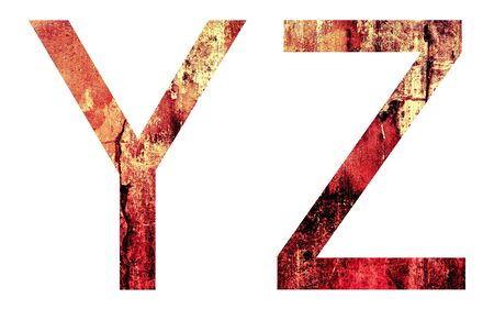 depress: Grunge Letter Y and Z, Crack Surface Style, isolated on white