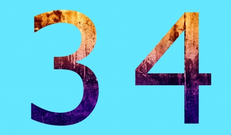 Number Character in Grunge Surface Style Stock Photo
