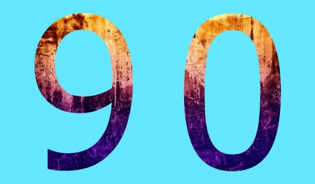 Number 9 and 0 grunge surface background photo