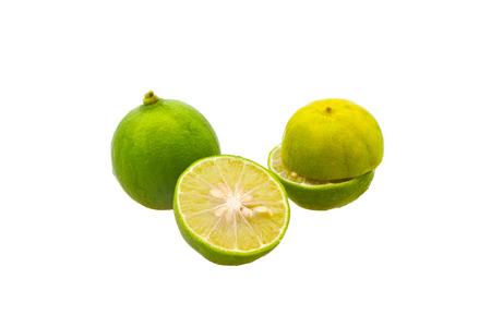 Sliced Lemon in group , isolated on white Stock Photo