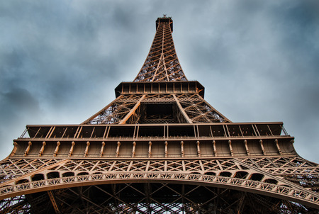 french culture: Eiffel Tower Paris, France Low Angle Shot