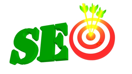 SEO with target and golden growing arrow, 3D illustration