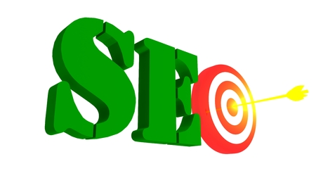 SEO with target and golden growing arrow in the bulleye, 3D illustration Stock Photo