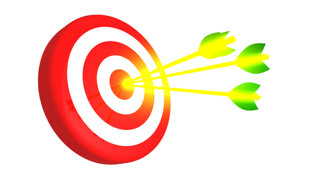 Target and three glowing golden arrows on white background, 3D illustration