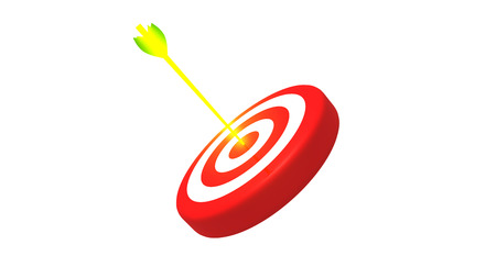 Target and glowing golden arrow on white background, 3D illustration Stock Photo