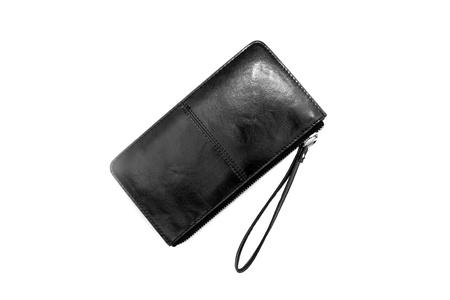 Black purse on white background