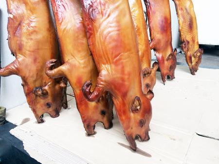 Group of whole roasted pig