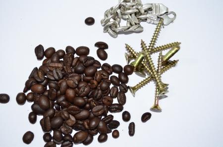 Koffie schroeven en armband, metalen en cafe Stockfoto - 19882278