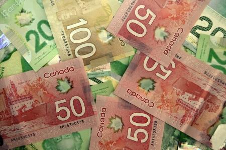 earn money: Money,  Canadian dollars Stock Photo