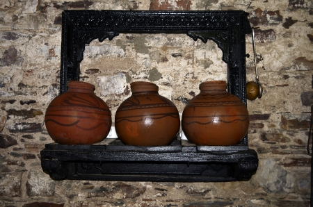 wall backgroun design, wall paper, water pots, pottery photo