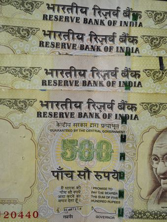 indian currency: 500 rupia notas Moneda india