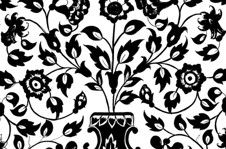 Pretty floral painting in black and white color photo