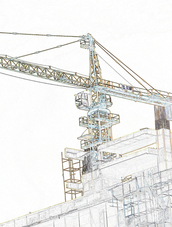 sketch of crane working at construction site photo