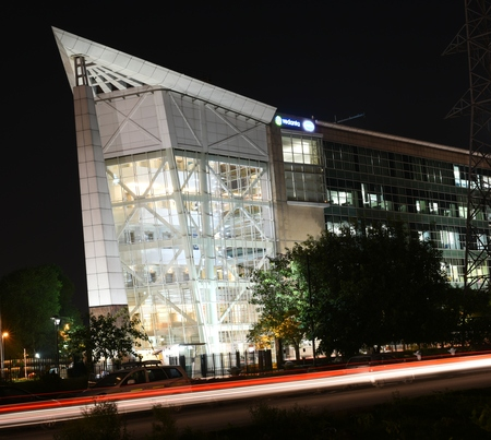 gurgaon: Gurgaon,India: Aug 20th, 2015:Famous DLF Office Complex in Gurgaon during night hours, the complex is an example of world class infrastructure in India, It is connected with main Metro via Rapid Metro