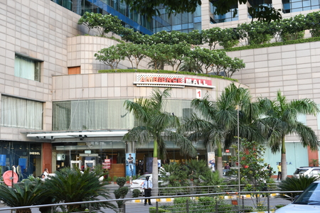 corporate buildings: Gurgaon, Delhi, India: August 22nd 2015: Entrance gate of famous Ambience shopping mall in Gurgaon, mall is in the border of Gurgaon and Delhi, It is the biggest shopping mall in Delhi and NCR.