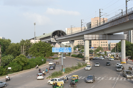 delhi: Gurgaon, Delhi, India: August 22nd 2015: Modern infrastructure offering better connectivity to public, City is well connected with modern roads, metro and rapid metro Editorial
