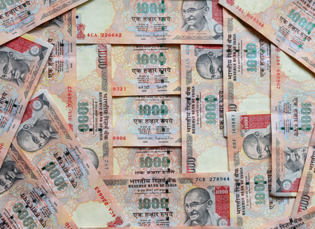 currency: Indian currency or money 1000 Rupee notes, whole background Stock Photo