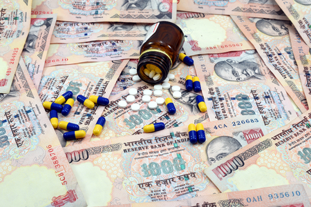 swaps: Indian Money, 1000 Rupee notes with medicines