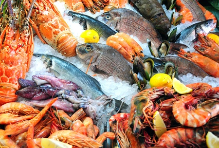 frozen fish: Fresh seafood photographed in fish market Stock Photo
