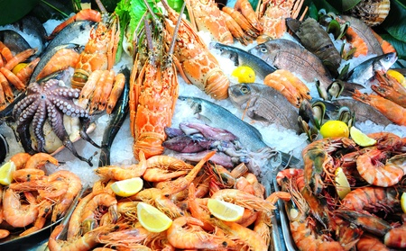 Fresh seafood photographed in fish market photo