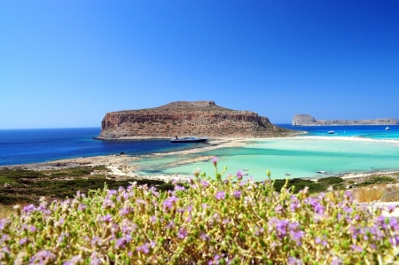 Balos Lagoon and Gramvousa island in Crete,Greece Banco de Imagens