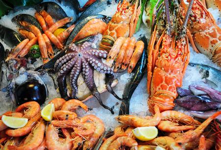 pescados y mariscos: Mariscos Foto de archivo