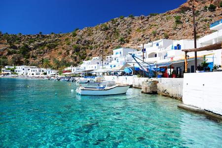 Griekse kustlijn dorpje Loutro in het zuiden van Kreta