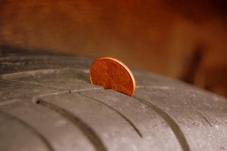 Penny In Tire Stock fotó
