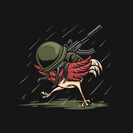 Chicken Army Illustration