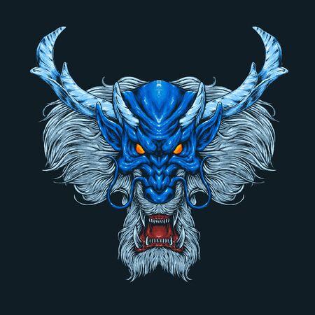Blue dragon head illustration