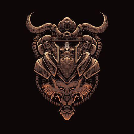 Viking & wolf warrior vector illustration Illustration