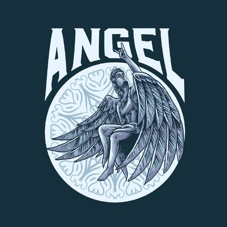 Rock in angel vector illustration