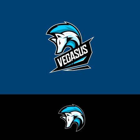 E sports team logo template with pegasus