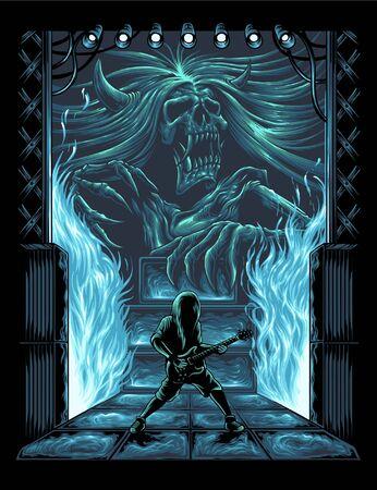 Guitarist performance vector illustration