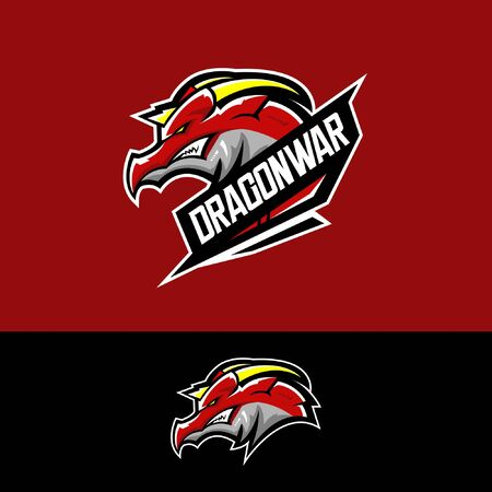 E sports team logo template with dragon Çizim