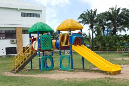 a colourful children playground equipment. Stok Fotoğraf