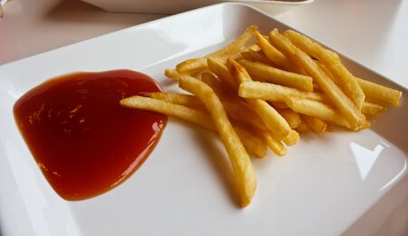 frites: Stock Photo - french fries  pommes frites  in plate isolated on white Stock Photo