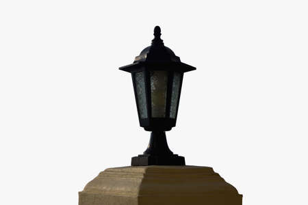 Stock Photo - An old lamp post isolated over white photo