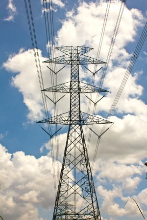 high voltage: Power transmission tower with cables