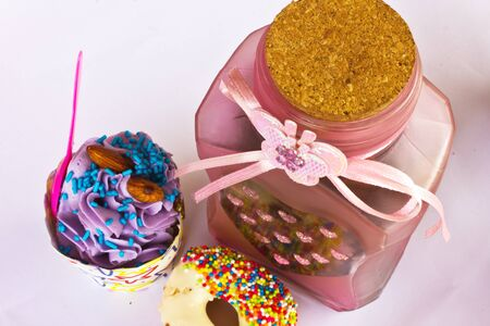 colorful of Cupcake with bottle Stock Photo - 15326331