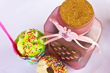 colorful of Cupcake with bottle Stock Photo - 15326330
