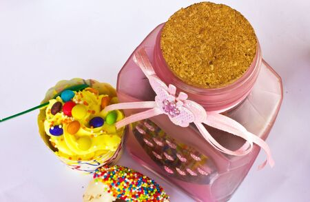 colorful of Cupcake with bottle Stock Photo - 15326294