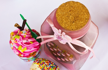 colorful of Cupcake with bottle Stock Photo - 15326297
