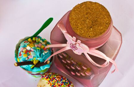 afternoon fancy cake: colorful of Cupcake with bottle
