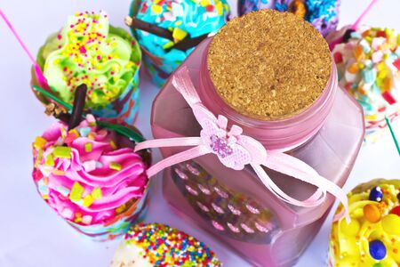 colorful of Cupcake with bottle Stock Photo - 15326412