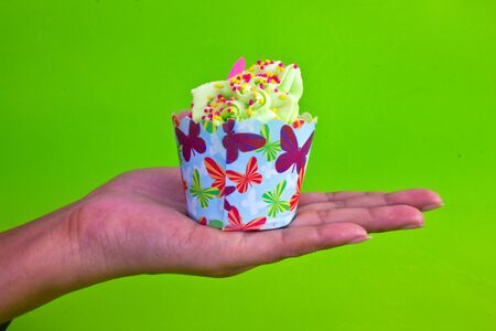 colorful of Cupcake on women hand Stock Photo - 15326648