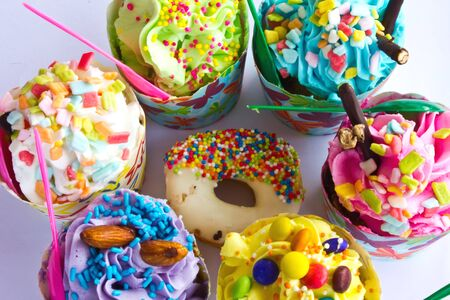 colorful of Cupcake selection Stock Photo - 15349999