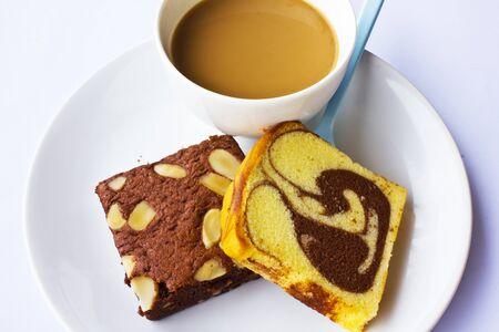 banana bread: Stock Photo - coffee and banana bread isolated on white background
