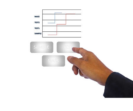 Stock Photo - Businessman  point and flow organization chart photo